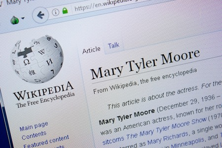 Ryazan, Russia - September 09, 2018 - Wikipedia page about Mary Tyler Moore on a display of PC