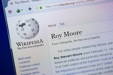 Ryazan, Russia - September 09, 2018 - Wikipedia page about Roy Moore on a display of PC