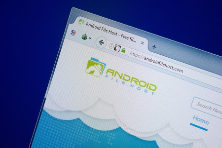 Ryazan, Russia - September 09, 2018: Homepage of Android File Host website on the display of PC, url - AndroidFileHost.com.