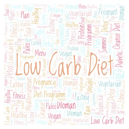Low Carb Diet in a square shape word cloud - illustration made with text only. Stock Photo