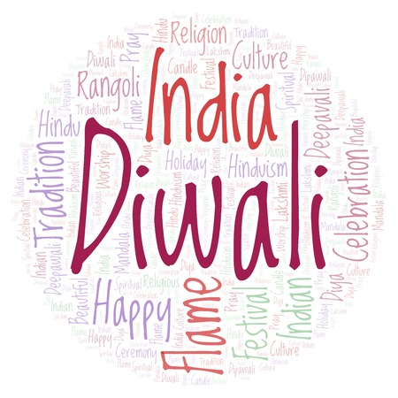 Diwali in circle shape word cloud. Wordcloud made from letters and words only. Stock Photo
