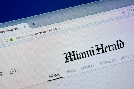 Ryazan, Russia - September 09, 2018: Homepage of Miami Herald website on the display of PC, url - MiamiHerald.com. Archivio Fotografico - 110651031
