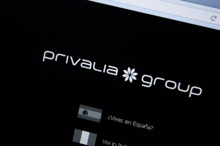 Ryazan, Russia - September 09, 2018: Homepage of Privalia website on the display of PC, url - Privalia.com. Editorial