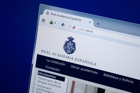 Ryazan, Russia - September 09, 2018: Homepage of Rae website on the display of PC, url - Rae.es. Editorial