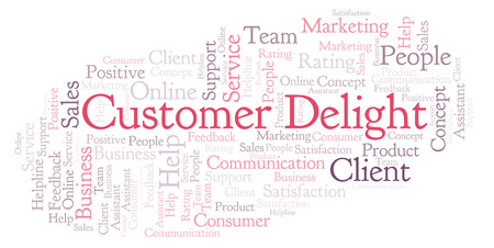 Customer Delight word cloud. Made with text only. 免版税图像
