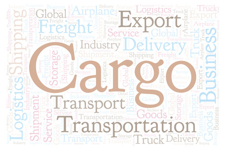 Cargo shape word cloud. Wordcloud made with text only. Reklamní fotografie - 108183339