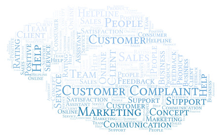 Customer Complaint word cloud. Made with text only. Stock Photo