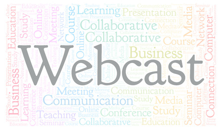Word cloud with text Webcast. Wordcloud made with text only.