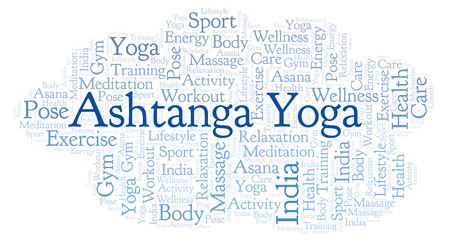 Ashtanga Yoga word cloud. Wordcloud made with text only. Stock Photo