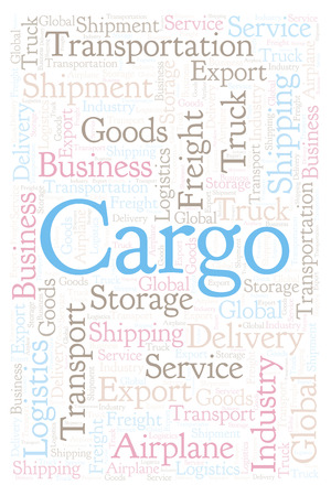 Cargo shape word cloud. Wordcloud made with text only. Reklamní fotografie