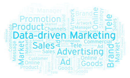 Word cloud with text Data-driven Marketing. Wordcloud made with text only. Stock Photo