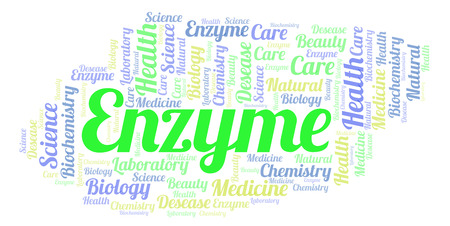 Enzyme word cloud. Wordcloud made with text only. Archivio Fotografico