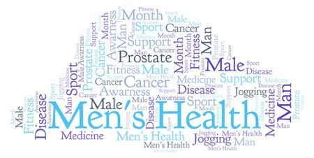 Nuage de mot santé des hommes. Wordcloud fait uniquement avec du texte.