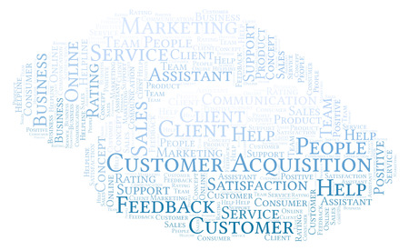 Customer Acquisition word cloud. Made with text only.
