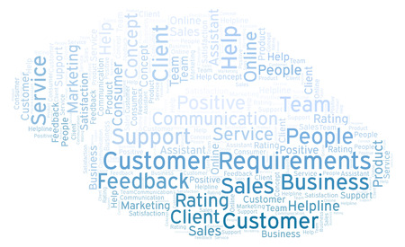 Customer Requirements word cloud. Made with text only.