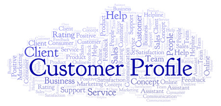 Customer Profile word cloud. Made with text only.