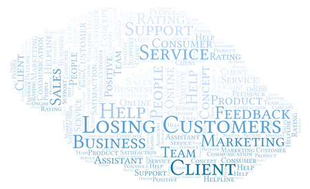 Losing Customers word cloud. Made with text only. Stock Photo