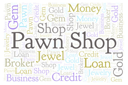Pawn Shop word cloud. Wordcloud made with text only. 스톡 콘텐츠