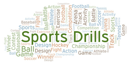 Sports Drills word cloud. Made with text only. Foto de archivo - 108388290