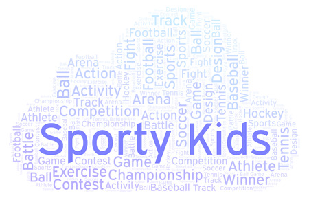 Sporty Kids word cloud. Made with text only. Stock Photo