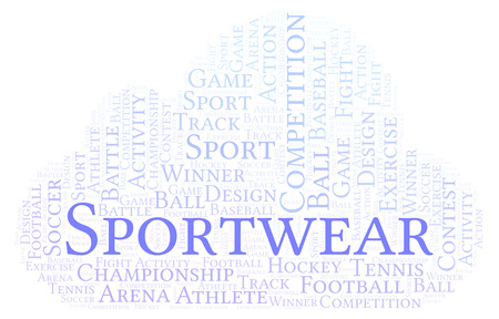 Sportwear word cloud. Made with text only.