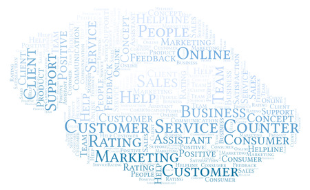 Customer Service Counter word cloud. Made with text only.