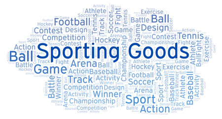 Sporting Goods word cloud. Made with text only. 写真素材