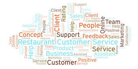 Restaurant Customer Service word cloud. Made with text only.