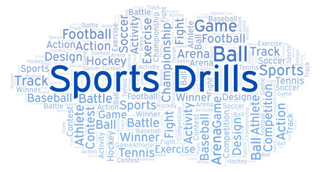 Sports Drills word cloud. Made with text only. Foto de archivo - 108372756