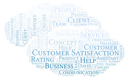 Customer Satisfaction word cloud. Made with text only. Stock Photo