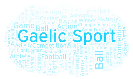 Gaelic Sport word cloud. Made with text only. Stock Photo