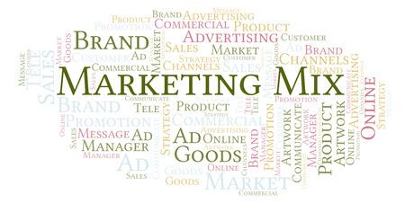 Wortwolke mit Text Marketing Mix. Wordcloud nur mit Text erstellt. Standard-Bild