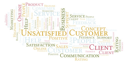 Unsatisfied Customer word cloud. Made with text only. Banque d'images