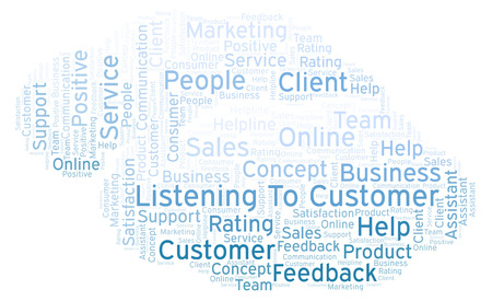 Listening To Customer word cloud. Made with text only. Stock Photo