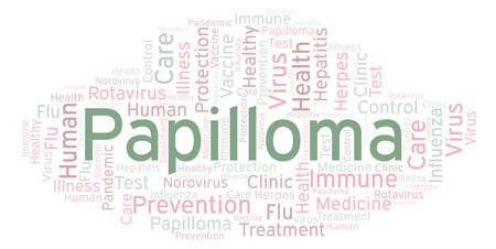 Papilloma word cloud, made with text only Stock fotó