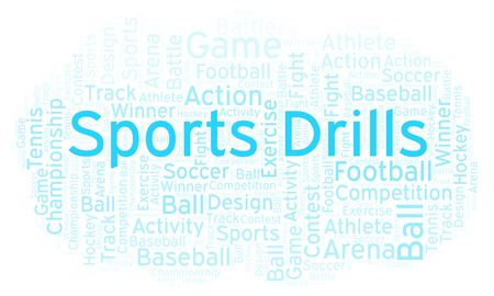 Sports Drills word cloud. Made with text only. Foto de archivo - 108591335