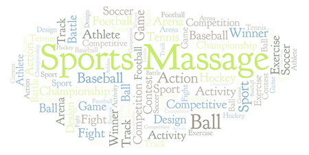 Sports Massage word cloud. Made with text only.