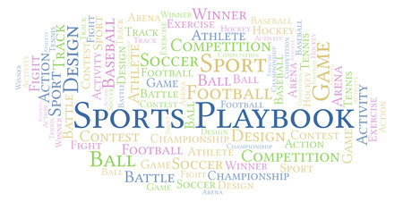 Sports Playbook word cloud. Made with text only.
