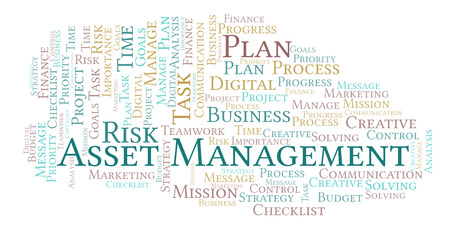 Asset Management word cloud, made with text only Stock Photo