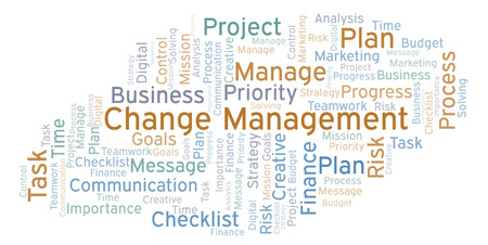 Change Management word cloud, made with text only Stock Photo