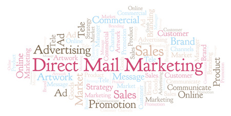 Word cloud with text Direct Mail Marketing. Wordcloud made with text only.