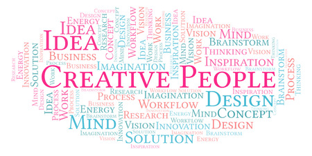 Creative People word cloud, made with text only
