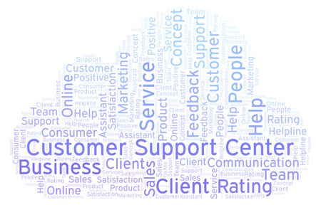 Customer Support Center word cloud. Made with text only. Stock Photo