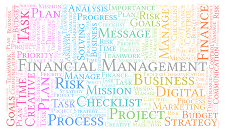 Financial Management word cloud, made with text only
