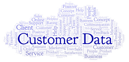 Customer Data word cloud. Made with text only.