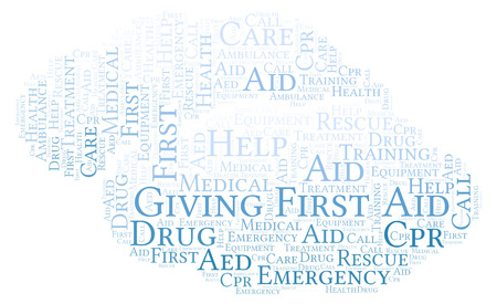 Giving First Aid word cloud, made with text only