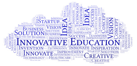 Innovative Education word cloud, made with text only Foto de archivo