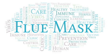 Flue Mask word cloud, made with text only