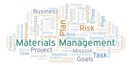 Materials Management word cloud, made with text only