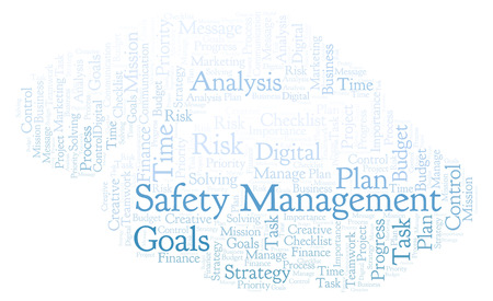 Safety Management word cloud, made with text only